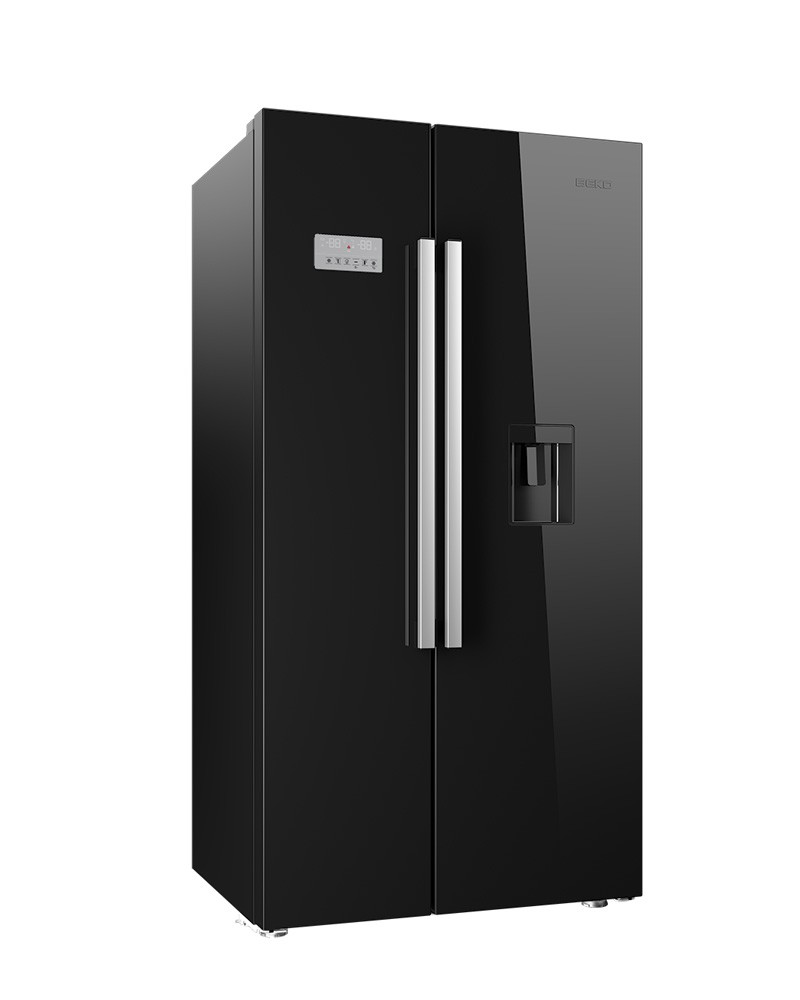 BEKO AMERICAN FRIDGE FREEZER - BLACK GLOSS