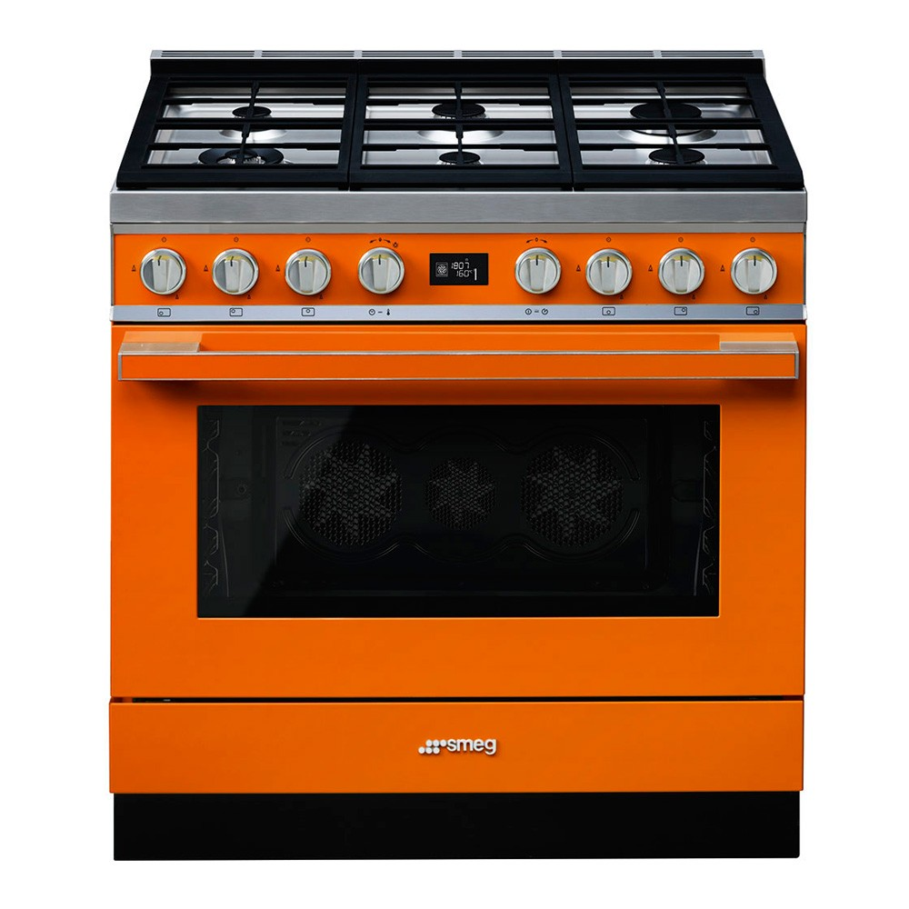 Smeg Portofino Range Cooker with Pyrolytic Multifunction Oven and Gas hob, Black - CPF9GPBL