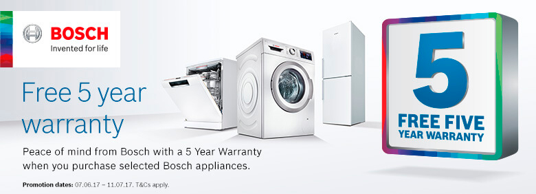 Bosch -5 Year Warranty on selected products