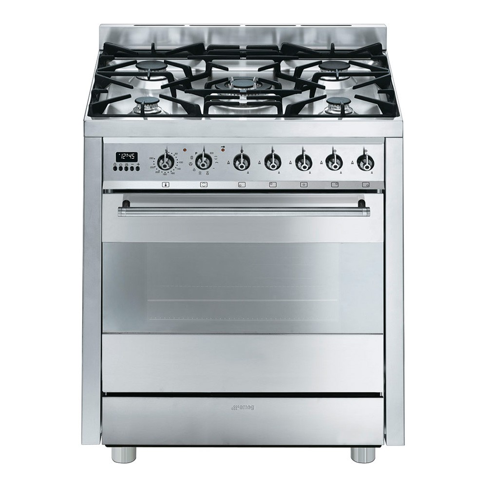 Smeg Symphony Range 70cm Dual Fuel Cooker, Stainless Steel - C7GPX8